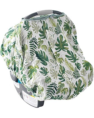 Little Unicorn Muslin Car Seat Canopy - Tropical Leaf - 100% Cotton Muslin Stroller Accessories