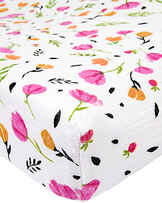 Little Unicorn Muslin Changing Pad Cover - Berry & Bloom - 100% Cotton Muslin Changing Mats And Covers