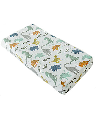 Little Unicorn Muslin Changing Pad Cover - Dino Friends - 100% Cotton Muslin Changing Mats And Covers