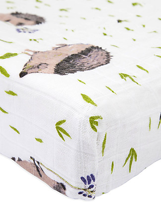 Little Unicorn Muslin Changing Pad Cover - Hedgehog - 100% Cotton Muslin Changing Mats And Covers