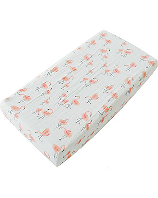 Little Unicorn Muslin Changing Pad Cover - Pink Ladies - 100% Cotton Muslin Changing Mats And Covers