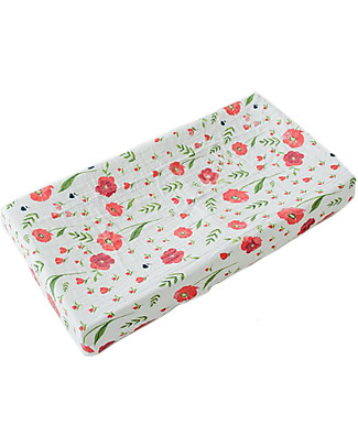 Little Unicorn Muslin Changing Pad Cover - Summer Poppy - 100% Cotton Muslin Changing Mats And Covers