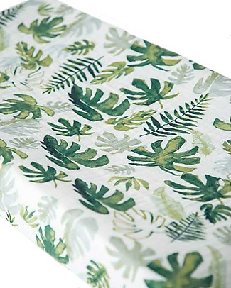 Little Unicorn Muslin Changing Pad Cover - Tropical Leaf - 100% Cotton Muslin Changing Mats And Covers