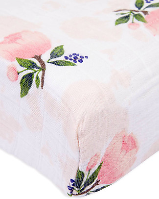 Little Unicorn Muslin Changing Pad Cover - Watercolor Rose - 100% Cotton Muslin Changing Mats And Covers
