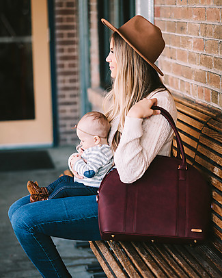 Little Unicorn Rotunda Bag, Vegan Leather Changing Bag, Pomegranate - With changing pad and stroller hooks Diaper Changing Bags & Accessories
