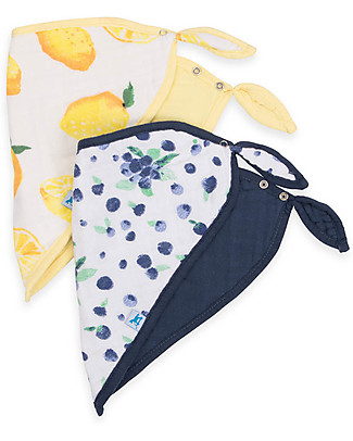 Little Unicorn Set of 2 Bandana Bibs, Berry Lemonade  - 3 Layers of 100 % Cotton Muslin Bandana Bibs