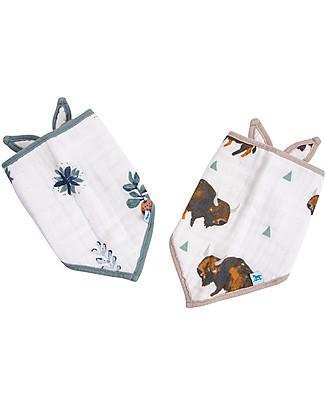 Little Unicorn Set of 2 Bandana Bibs, Bison - 3 Layers of 100 % Cotton Muslin Bandana Bibs