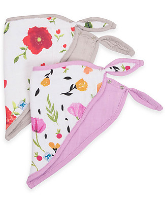 Little Unicorn Set of 2 Bandana Bibs, Summer Poppy - 3 Layers of 100 % Cotton Muslin Bandana Bibs