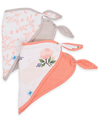 Little Unicorn Set of 2 Bandana Bibs, Watercolor Rose - 3 Layers of 100 % Cotton Muslin Bandana Bibs