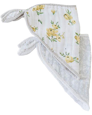 Little Unicorn Set of 2 Bandana Bibs, Yellow Rose  - 3 Layers of 100 % Cotton Muslin Bandana Bibs