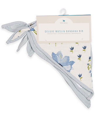 Little Unicorn Set of 2 Deluxe Bandana Bibs, Blue Windflower - 3 layers of 100% Bamboo Muslin Bandana Bibs