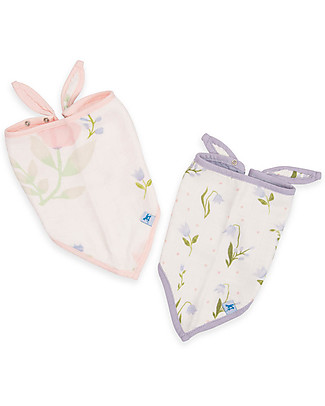 Little Unicorn Set of 2 Deluxe Bandana Bibs, Pink Peony - 3 layers of 100% Bamboo Muslin Bandana Bibs