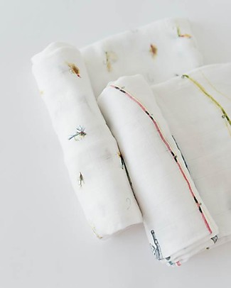 Little Unicorn Set of 2 Deluxe Swaddle Blanket 120 x 120 cm, Gone Fishing - 100% bamboo muslin Swaddles