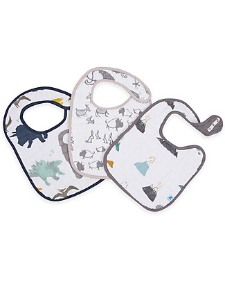 Little Unicorn Set of 3 Bibs, Dino Friends - 3 Layers of 100 % Cotton Muslin Snap Bibs