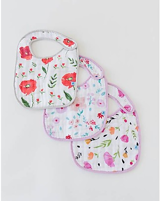 Little Unicorn Set of 3 Bibs, Floral Medley- 3 Layers of 100 % Cotton Muslin Snap Bibs