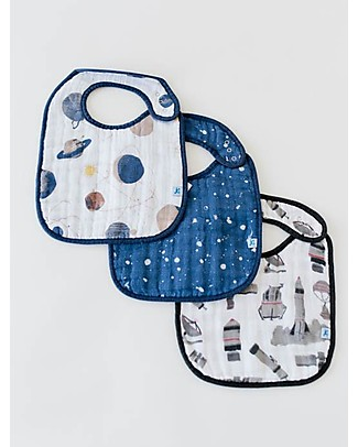 Little Unicorn Set of 3 Bibs, Planetary Set - 3 Layers of 100% Cotton Muslin Snap Bibs