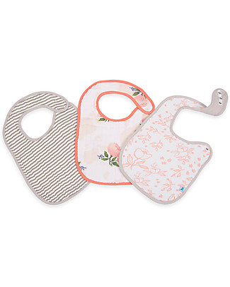 Little Unicorn Set of 3 Bibs, Watercolor Rose - 3 Layers of 100 % Cotton Muslin Snap Bibs