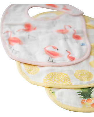 Little Unicorn Set of 3 Deluxe Bibs, Flamingo Pink Ladies - 3 Layers of 100% Bamboo Muslin Snap Bibs