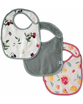 Little Unicorn Set of 3 Deluxe Bibs, Sweet Tart - 3 Layers of 100% Bamboo Muslin Snap Bibs