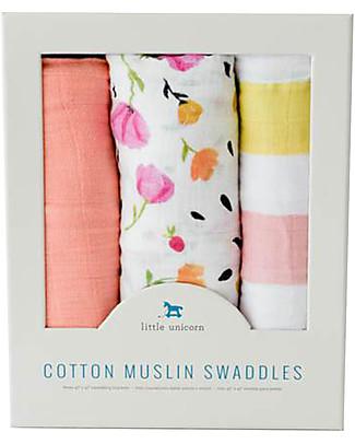 Little Unicorn Set of 3 Swaddle Blanket 120 x 120 cm, Cabana Stripe - 100% Cotton Muslin Swaddles