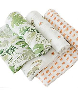 Little Unicorn Set of 3 Swaddle Blanket 120 x 120 cm, Gators - 100% Cotton Muslin Swaddles
