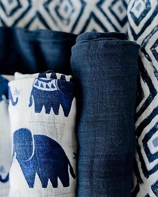 Little Unicorn Set of 3 Swaddle Blanket 120 x 120 cm, Indie Elephant - 100% Cotton Muslin Swaddles
