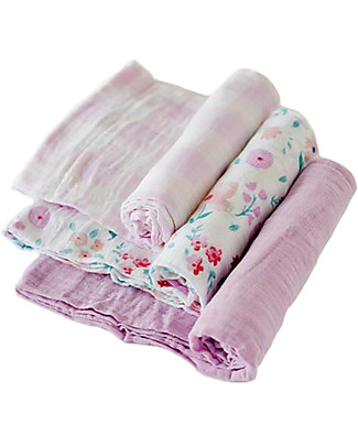 Little Unicorn Set of 3 Swaddle Blanket 120 x 120 cm, Morning Glory - 100% Cotton Muslin Swaddles
