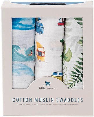 Little Unicorn Set of 3 Swaddle Blanket 120 x 120 cm, Summer Vibe - 100% Cotton Muslin Swaddles