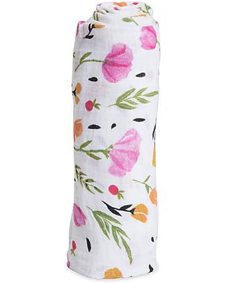 Little Unicorn Swaddle Blanket 120 x 120 cm, Berry & Bloom - 100% Cotton Muslin Swaddles