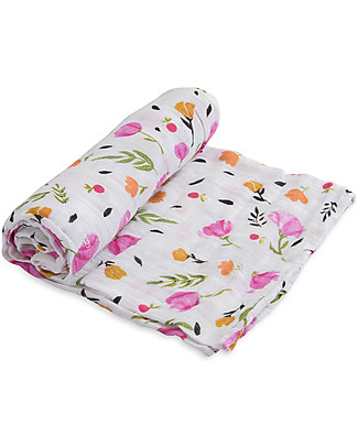 Little Unicorn Swaddle Blanket 120 x 120 cm, Berry & Bloom - 100% Cotton Muslin Swaddles