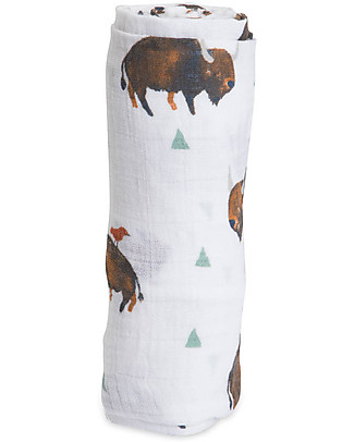 Little Unicorn Swaddle Blanket 120 x 120 cm, Bison - 100% Cotton Muslin Swaddles