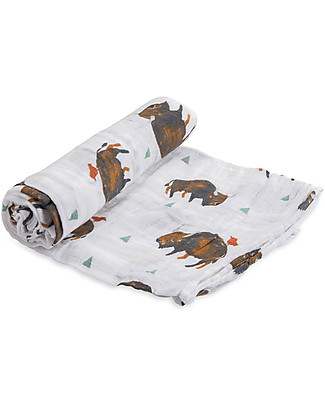 Little Unicorn Swaddle Blanket 120 x 120 cm, Bison - 100% Cotton Muslin Swaddles