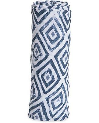 Little Unicorn Swaddle Blanket 120 x 120 cm, Blu Topaz - 100% Cotton Muslin Swaddles