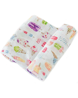 Little Unicorn Swaddle Blanket 120 x 120 cm, Brain Freeze - 100% Cotton Muslin Swaddles