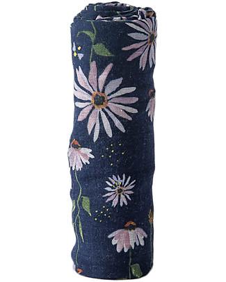 Little Unicorn Swaddle Blanket 120 x 120 cm, dark Coneflower - 100% Cotton Muslin Swaddles