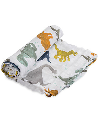Little Unicorn Swaddle Blanket 120 x 120 cm, Dino Friends - 100% Cotton Muslin Swaddles