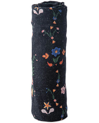 Little Unicorn Swaddle Blanket 120 x 120 cm, Floral Stitch - 100% Cotton Muslin Swaddles