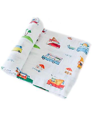 Little Unicorn Swaddle Blanket 120 x 120 cm, Food Truck - 100% Cotton Muslin Swaddles