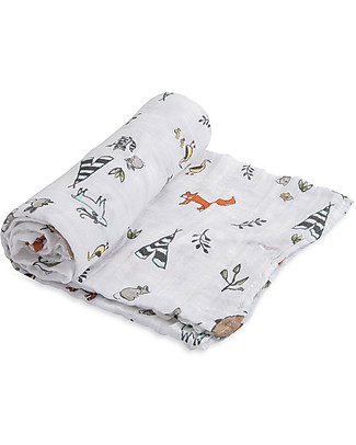 Little Unicorn Swaddle Blanket 120 x 120 cm, Forest Friends - 100% Cotton Muslin Swaddles