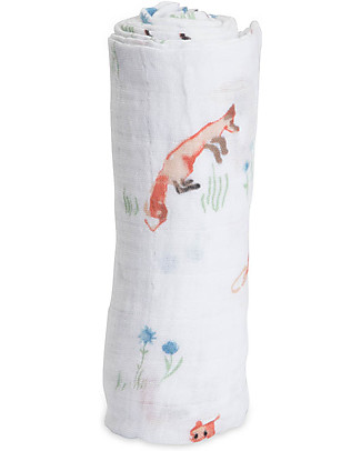 Little Unicorn Swaddle Blanket 120 x 120 cm,  Fox - 100% Cotton Muslin Swaddles