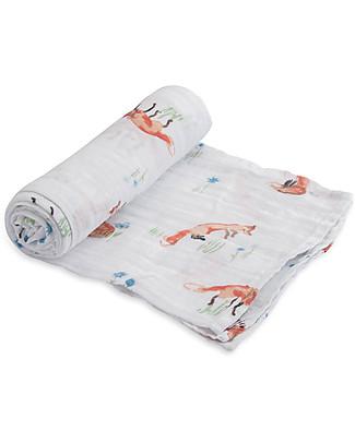 Little Unicorn Swaddle Blanket 120 x 120 cm,  Fox - 100% Cotton Muslin Swaddles