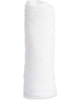 Little Unicorn Swaddle Blanket 120 x 120 cm, Gold Dot - 100% Cotton Muslin Swaddles