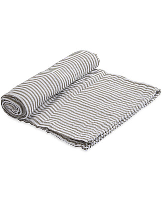 Little Unicorn Swaddle Blanket 120 x 120 cm, Grey Stripe - 100% Cotton Muslin Swaddles