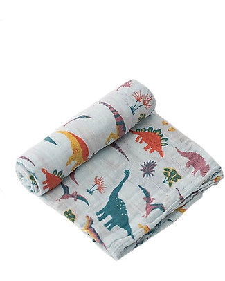 Little Unicorn Swaddle Blanket 120 x 120 cm, Jurassic World Embroidosaurus - 100% Cotton Muslin Swaddles
