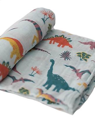 Little Unicorn Swaddle Blanket 120 x 120 cm, Jurassic World Embroidosaurus - 100% Cotton Muslin Swaddles