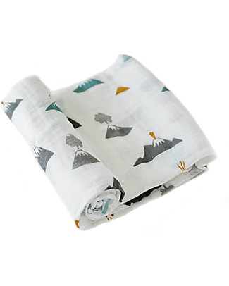 Little Unicorn Swaddle Blanket 120 x 120 cm, Lava Lava - 100% Cotton Muslin Swaddles