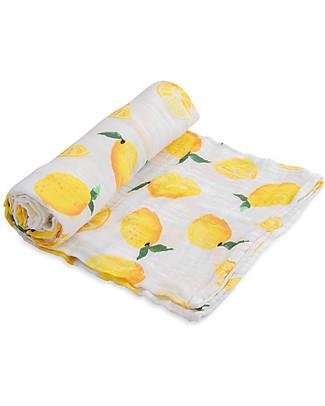 Little Unicorn Swaddle Blanket 120 x 120 cm, Lemon - 100% Cotton Muslin Swaddles
