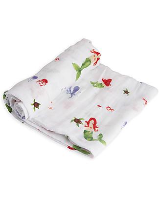 Little Unicorn Swaddle Blanket 120 x 120 cm, Mermaid - 100% Cotton Muslin Swaddles
