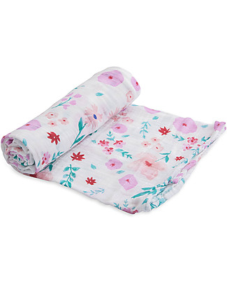 Little Unicorn Swaddle Blanket 120 x 120 cm, Morning Glory - 100% Cotton Muslin Swaddles