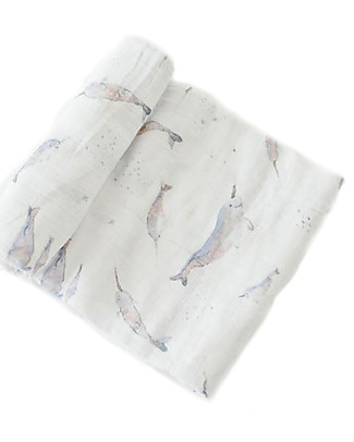 Little Unicorn Swaddle Blanket 120 x 120 cm, Narwhal - 100% Cotton Muslin Swaddles